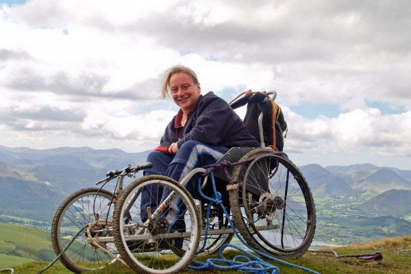 Lake District Calvert Trust       29th August 2010  Picture- Alistair Brewis  Paraplegic Jan Monaghan triumphantly reaches the summit of Scafell